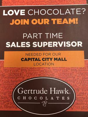 Gertrude Hawk chocolates hiring at capital city mall for Sale in Mechanicsburg, PA