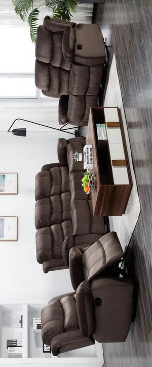 NEW🍀Brownie Cocoa Short Plush Reclining Sofa & Loveseat & Recliner | U8400 byGlobal for Sale in Jessup, MD