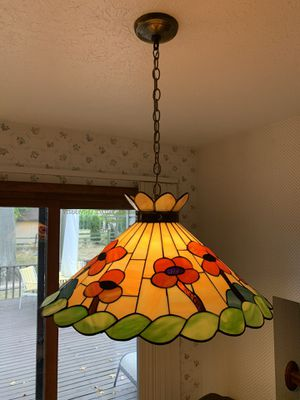Vintage Stained Glass Hanging Lamp w Globe for Sale in Seven Hills, OH