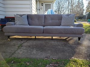 Beautiful Long GREY VELVET MACY'S COUCH-Excellent Condition! for Sale in Portland, OR