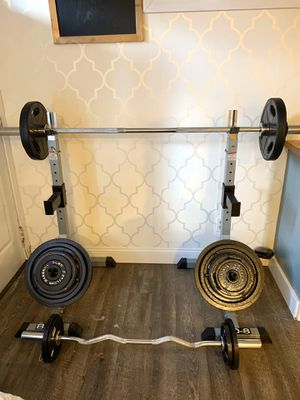 Squat rack and weights for Sale in Milford, MA