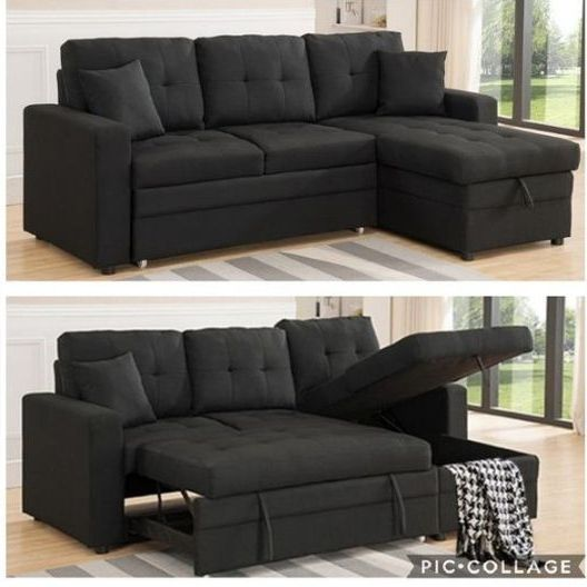 Black Sectional Sofa Pullout Bed With Storage Chaise