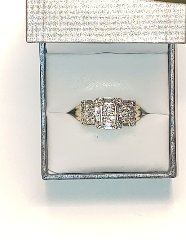 1ct baguette and cluster 14K Diamond engagement ring.