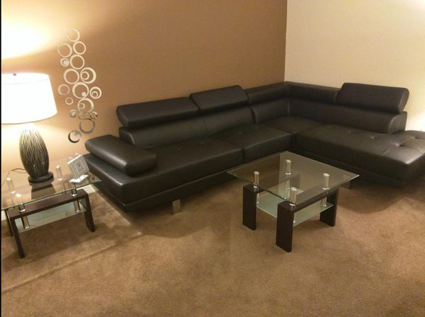Brand New Black Faux Leather Sectional Sofa Couch w/Adjustable Headrests