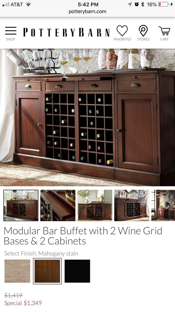 Pottery Barn Modular Bar Buffet With Wine Grid Bases For