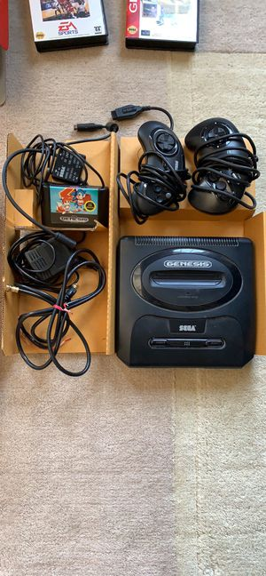 Sega Genesis gaming system with original box, 2 controllers and 5 games for Sale in Oswego, IL