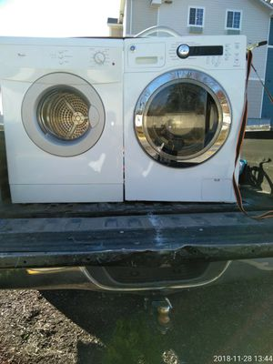 Washer and dryer works Good 90 day warranty 24 inch front load stack or side by side for Sale in Fort Washington, MD