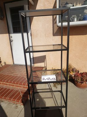 Beautiful metal frame glass shelving unit for Sale in West Covina, CA