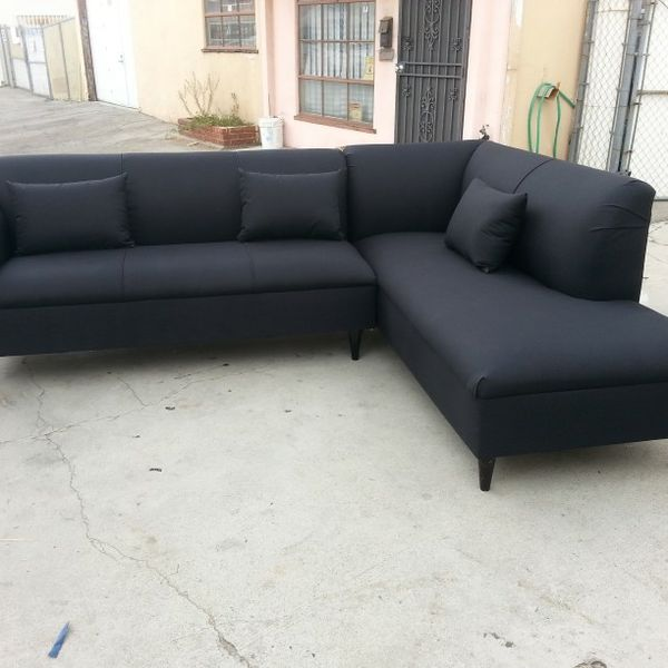 NEW 9X7FT DOMINO BLACK FABRIC SECTIONAL CHAISE