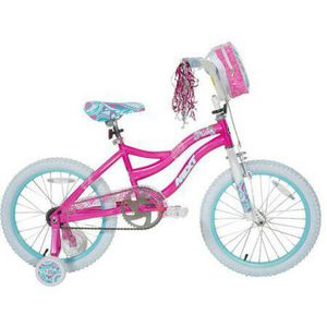Girls bycicle with training wheels, backpack & helmet. for Sale in Orlando, FL