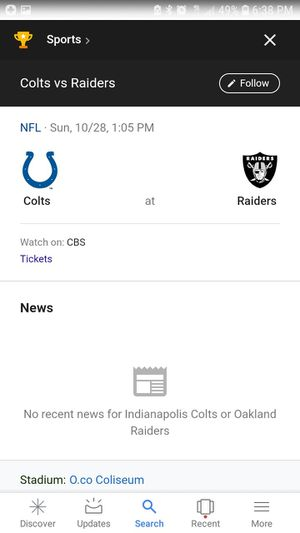4 tickets with parking pass sec. 107 near Black hole RAIDERS VS COLTS for Sale in Sanger, CA