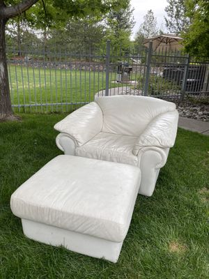white couch chair & matching leather ottoman for Sale in Aurora, CO