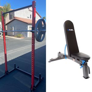 Squat Rack + Bench Press + Monster Bench + 45lb Olympic Plates + 45lb Barbell ALL BRAND NEW for Sale in Las Vegas, NV