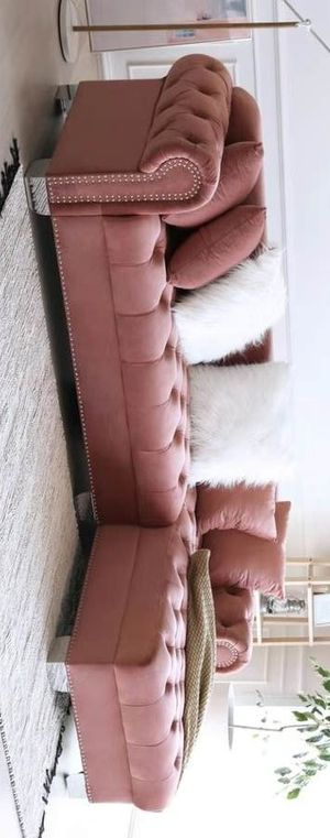 Royal velvet raf sectional sofa pink for Sale in Houston, TX