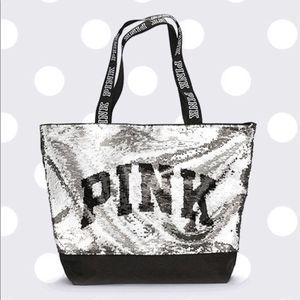 Victoria's Secret VS PINK sequin silver black tote bag for Sale in Denver, CO