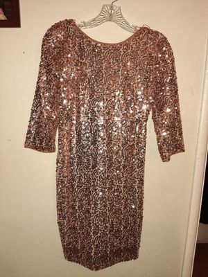 Gold Sequins Short Fitted Dress. Zipper Closure Back with a Low Cut. 3/4 Sleeves, Lining. Size Small (wore once) for Sale in Covina, CA