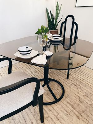 Retro Dining Set, Smoked Glass Tabletop + 2 Chairs for Sale in San Diego, CA