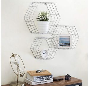 Silver molecules wall shelves, set of 3 for Sale in Los Angeles, CA