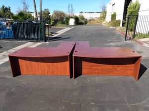 Excellent matching cherry L shaped office desks for Sale in Santa Ana, CA