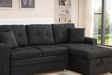 Brand new Black Linen Fabric pull out Sectional Sofa with (Reversible) LIMITED STOCK for Sale in Ontario,  CA