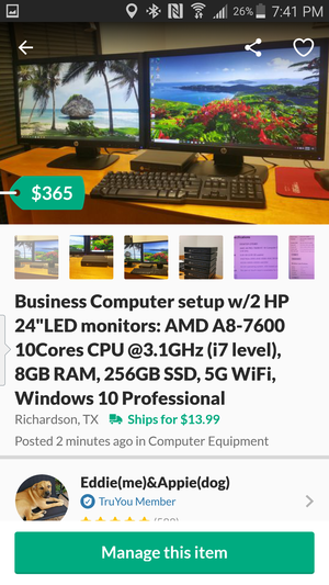 """Business Computer setup w/2 HP 24""""LED monitors: AMD A8-7600 10Cores CPU @3.1GHz (i7 level), 8GB RAM, 256GB SSD, 5G WiFi, Windows 10 Professional for Sale in Richardson, TX"""