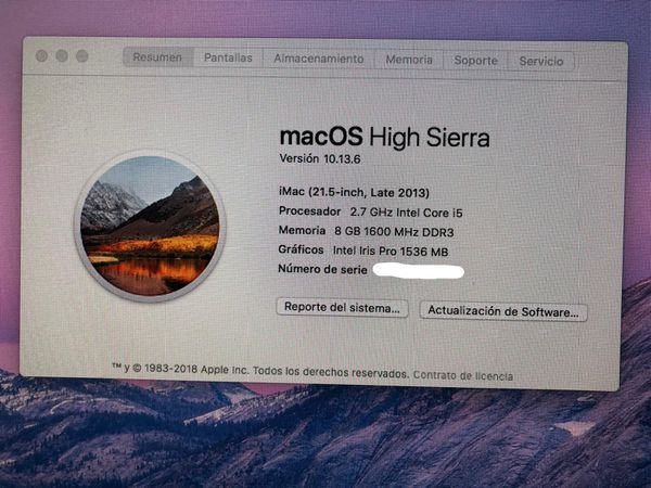 iMac 21,5 inch, 2.7 GHz Intel , core i5 8gb