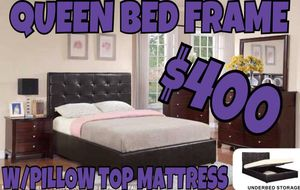 QUEEN BED FRAME WITH BRAND NEW PILLOW TOP MATTRESS for Sale in Avondale, AZ