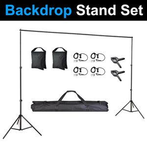 $35 New In Box Tripod Backdrop Stand Adjustable 10ft Wide X 6.5ft Tall with Clips, Sandbag and Carry Bag for Sale in Los Angeles, CA