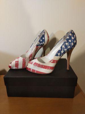 Size 39 8.5 bicentennial flags peep toe pumps shoes cloth for Sale in Takoma Park, MD