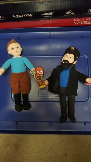 Tin tin and captain haddock ty beanie babies for Sale in Ramona, CA