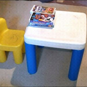 Kids Chair (Plastic And Inflatable) And Table for Sale in Moorestown, NJ