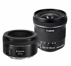 Canon - EF 50mm f/1.8 STM Standard Lens and EF-S 10-18mm F4.5-5.6 IS STM Ultra-Wide Zoom Lens Kit - black for Sale in Newton, KS