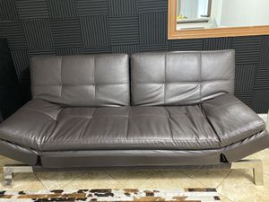 Futon brown faux leather for Sale in Riviera Beach, FL
