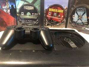 PS3 with controller, hdmi, power cable, and 3 games listed. for Sale in Woodstock, GA