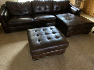 Top Grain Leather Sectional Sofa ! Sectional Couch ! Chelsie top grain leather chaise sectional with ottoman ! Costco couches ! Free delivery for Sale in Berkeley, CA
