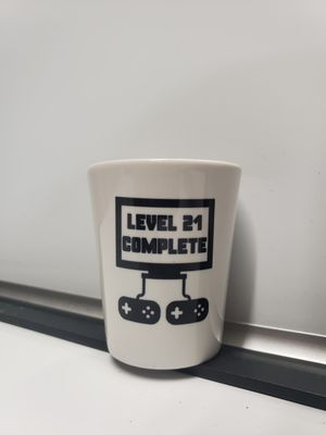 Gaming 21 birthday gift shot glass for video gamer for Sale in Pompano Beach, FL