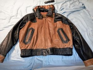 Two tone IOU leather jacket with detachable hoodie for Sale in Miami, FL
