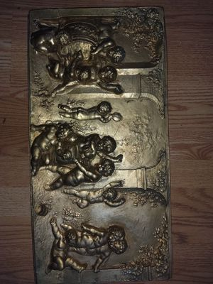 Large gold gilt cherub relief for Sale in Puyallup, WA