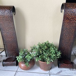 Wall Candle Decor And Artificial Plant for Sale in Phoenix, AZ