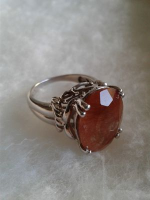Natural Red Rutilated Quartz, Sterling Silver, Size 8 for Sale in Woodbridge, VA