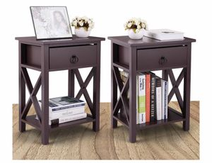 Wooden Nightstand Bedside End Table Organizer Bedroom Cross Style X-Design W/ One Drawer Brown for Sale in La Mirada, CA