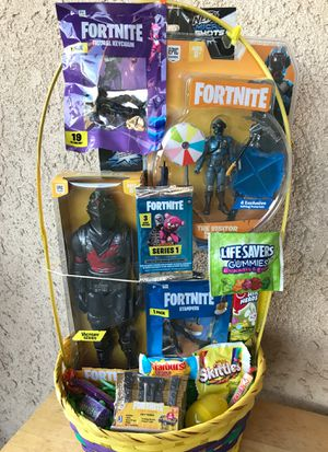 EASTER BASKET FORTNITE BLACK KNIGHT FIGURE AND NERF MICRO RL GUN AND ASSORTED TOYS for Sale in Rialto, CA