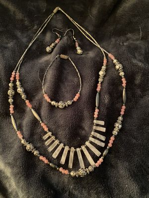 Mexican silver beaded/pink stones/ bracelet/earrings set from Mexico for Sale in Fresno, CA