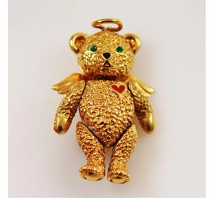 Antique 24kt Gold teddy bear pendent Necklace Brooch for Sale in North Little Rock, AR