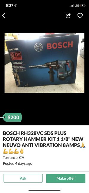 """BOSCH RH328VC SDS PLUS ROTARY HAMMER KIT 1 1/8"""" NEW NUEVO ANTI VIBRATION 8 AMPS for Sale in Las Vegas, NV"""
