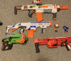 Assortment of nerf guns and attachments for Sale in Lake in the Hills, IL