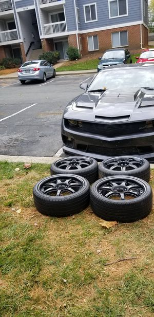 4 17in 4x100 4x114.3 wheels rims and tires 205/45zr17 for Sale in Germantown, MD