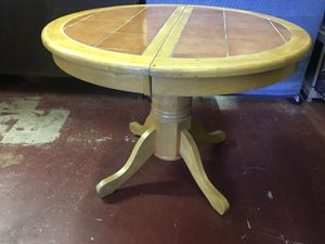 Round Wood & Mexican Tile Table for Sale in Oakland Park, FL