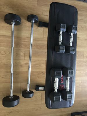 Set of weights & bench for Sale in Glendale, CA