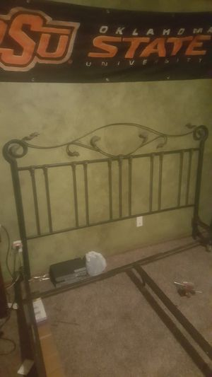 King size bed frame w ornamental iron head n foot board for Sale in Moore, OK